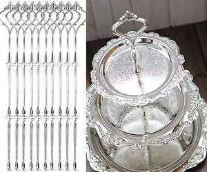 Great 5 X 3 Tier Wedding Party Tea Cake Plate Silver Stand Centre Handle Fitting