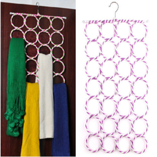 Useful Home Scarf Hanger Circle Holder Wardrobe Space Organizer Ties Belt Storage