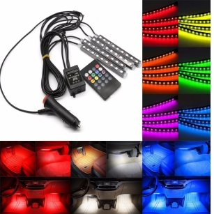 Brand New 4X 12V LED Car Interior RGB Atmosphere Decorative Light Neon Lamp Strips Bulb HD