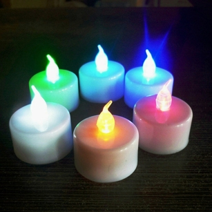 RGB Flickering LED Candle Tea Lights Flameless Home for Parties