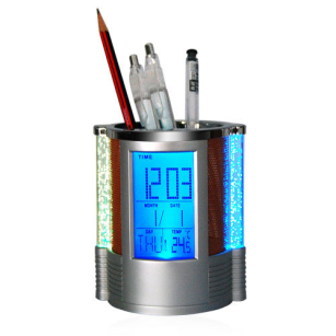 Digital LCD Desk Alarm Clock & Mesh Pen Holder Pens Rulers Office Tidy LED Light