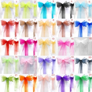 100 x Organza Chair Wider Sashes Fuller Bows Occasion Party Decor