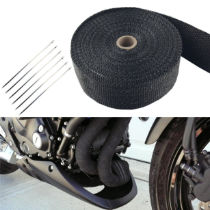 Great 10M Black Exhaust Heat Wrap Manifold Downpipe High Temp Bandage Tape Roll