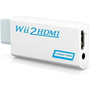Great 3.5mm Audio Output Jack Wii to HDMI Wii2HDMI Full HD FHD 1080P Converter White