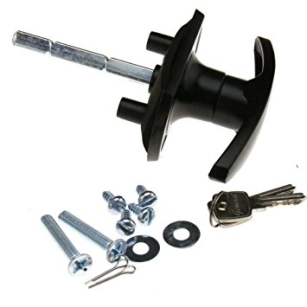 Brand New T-Handle Black Garage Door Lock 18/35mm Fixing Spigots 50mm Shaft For HENDERSON