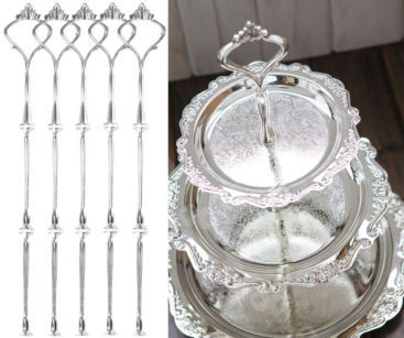 Super 5 X 3 Tier Wedding Party Tea Cake Plate Silver Stand Centre Handle Fitting