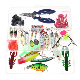 Fishing Lures Spinners Plugs Spoons Soft  Pike Trout Salmon 100Pcs Bait